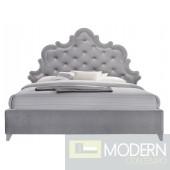 Sophie Grey Velvet Platform Queen Bed OPEN BOX