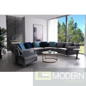 Genovese Modern Grey Velvet Circular Sectional Sofa