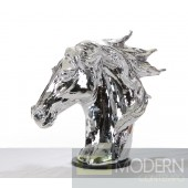 SZ0002 - Modern Silver Horse Head Sculpture
