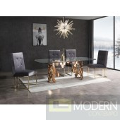 Modrest Bellissa Modern Glass & Rosegold Dining Table
