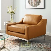 Enzo Stainless Steel Base Leatherchair in Tan