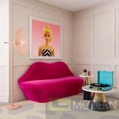 Hot Pink LIPS Velvet loveseat