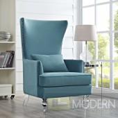 Naples Sea Blue Velvet Chair with Lucite Legs