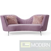 Elsa Grey Velvet Sofa Blush