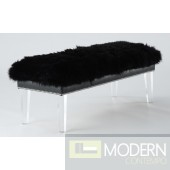 Celena Black Sheepskin Lucite Bench