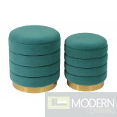 Cate Teal Storage Ottomans - Set of 2