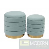 Cate Sea Blue Storage Ottomans - Set of 2