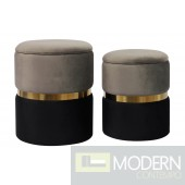 Calixta Grey Storage Ottomans - Set of 2