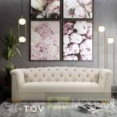 Faye Cream Velvet Sofa