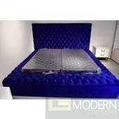 Hermes king BLUE Velvet Bed with storage in footrest & side rails