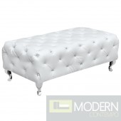 Tufted Bench, White