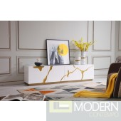 Oslo Modern White & Gold TV Stand
