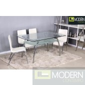 5Pc Marla Glass Dining Table Set