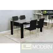 5Pc Carmen Glass Dining Table Set