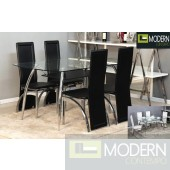 5Pc Sheila Glass Dining Table Set