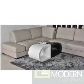Half Moon White and Black Lacquer Coffee Table