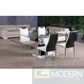 Modern Black/White Lacquer with Chrome Glass Top  Dining Table-MCBMU801