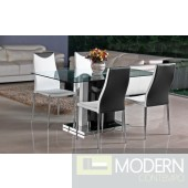 Modern Black/White Lacquer with Chrome Glass Top  Dining Table-MCBMU804
