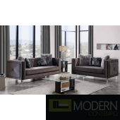 Modern Grey Velvet sofa Set with Trim Glitter Accent and Acylic legs