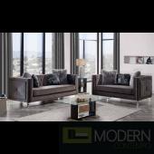 Modern Grey Velvet sofa Set with Trim Glitter Accent and Acylic legs