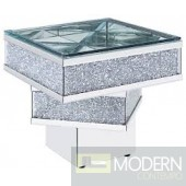 Venice End Table, Mirrored, Faux Diamonds and Clear Glass