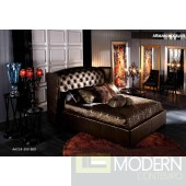 Royal Transitional Golden Tufted Leatherette Platform Bed
