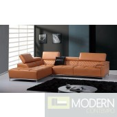Divani Casa Citadel Modern Orange italian Leather Sectional Sofa
