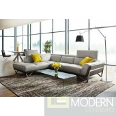Victory Light Grey and Grey L shape  Left Arm Facing sectional  Full leather