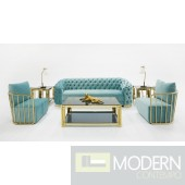 Luce Chestefield Modern Tufted Blue Velvet Sofa