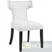 White Vinyl Curve Dining Chair