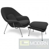 Woom Chair and Ottoman, Black