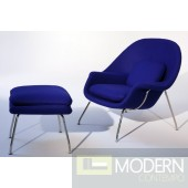 Woom Chair and Ottoman, Blue