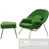 Woom Chair and Ottoman, Green
