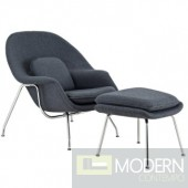 Woom Chair and Ottoman, Gray