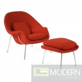 Woom Chair and Ottoman, Red