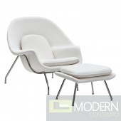 Woom Chair and Ottoman, White