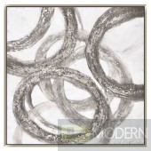 "39"" Silver Rings Wall Hanging Art"