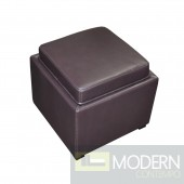 Divani Casa K-Y063 Full Leather Espresso Ottoman with Storage and End Table