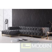 Sorrento Modern Grey Fabric Sectional Sofa