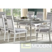 7pc Modern Glam Style Platinum Wood Dining Table w/Glass Rhinestone Insert  MCNJ1100
