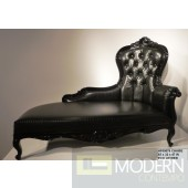 Vitesse Black Croc Leather Baroque Chaise Lounge