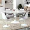 """Tulipano 47"""" Round Artificial Marble Dining Table in White"""