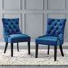 Violette Tufted Performance Velvet Dining Side Chairs - Set of 2 Navy