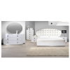 Aversa White Lacquer Platform Bed with crystals