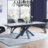 5Pc Dining Table with Clear Glass Top,Black Leg in Faux Marble Texture and Finish Tempered Glass  Set 9