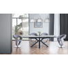 5Pc Dining Table with faux marble glass-top and black matte X-base with grey fabric chairs Set 10