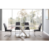 5Pc Carrara marble Top Dining Table with X-base design with polished stainless steel
